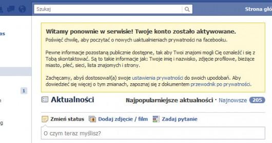 powitanie po ponownej aktywacji konta na Facebooku