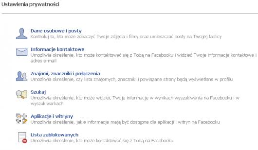 strona ustawień prywatności Facebook