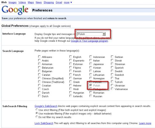 google ustawienia wyszukiwania