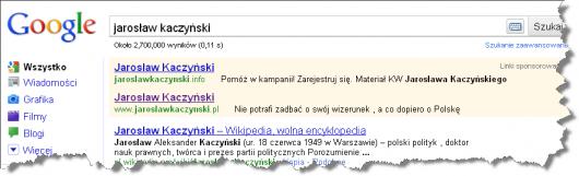 jaroslaw kaczynski reklama adwords