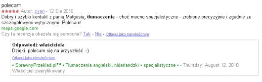 odpowiedzi na opinie - Miejsca Google