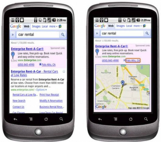 hyperlocal google search mobile ads