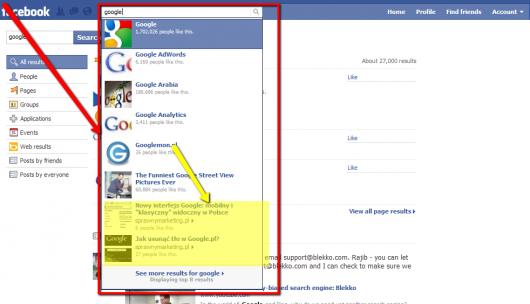 wyniki newsowe w podglądzie wyszukiwania - Facebook