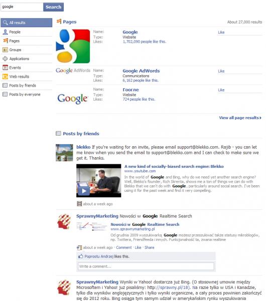 wyniki standardowe - Facebook