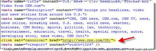 zrzut nagłówka HTML z witryny cnn.com, podświetlony rel=canonical