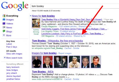 """przykładowe zapytanie o """"tom bosley"""" i link """"shared by"""""""