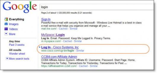 niezaindeksowana a widoczna w SERP-ach podstrona logowania Cisco