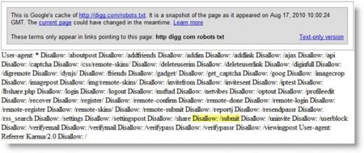 """zrzut pliku robots.txt zawierający błąd """"Disallow: /submit"""""""