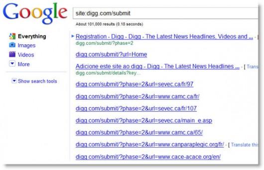 Googlowa lista podstron zkatalogu digg.com/submit