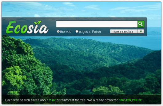 Ecosia - Interfejs