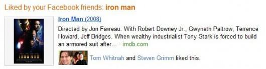 """social search - Bing integruje się z Facebookiem - przykładowy wynik dla zapytania """"Iron Man"""""""