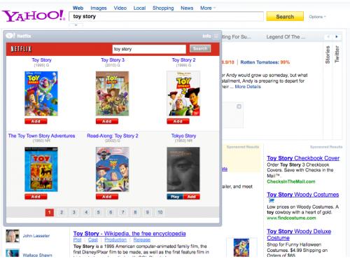 Szybka aplikacja serwisu Netflix osadzona w nowym interfejsie Yahoo! Search