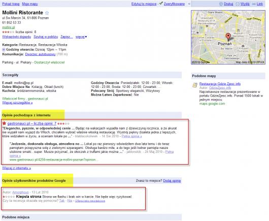 rozdzielenie recenzji w Google Maps