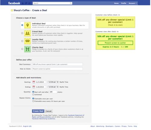 formularz dodawania zniżki Facebook Deals