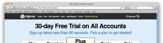 """37signals - nagłówek """"y free trial on all accounts"""""""