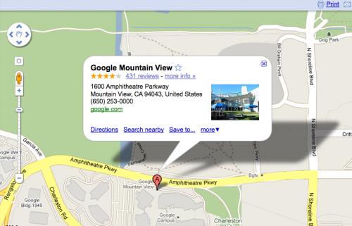 Googleplex zaznaczony w Google Maps