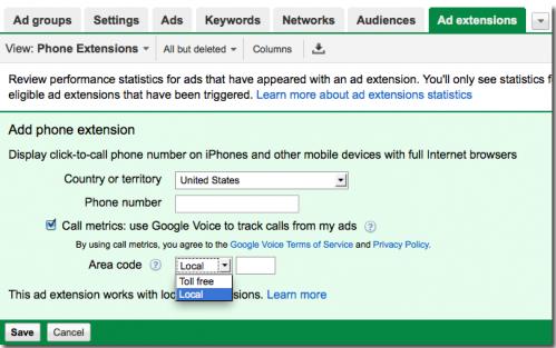 tak Call Metrics wygląda w backendzie AdWords