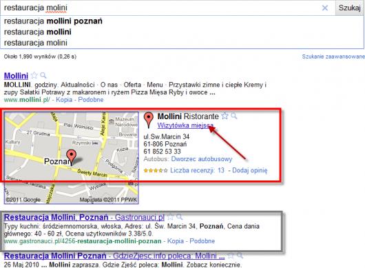 dla przykładowego zapytania o restaurację Miejsca Google są wyżej niż Gastronauci