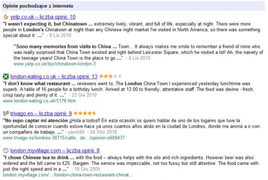 zajawki recenzji lokalnych zassane do Miejsc Google