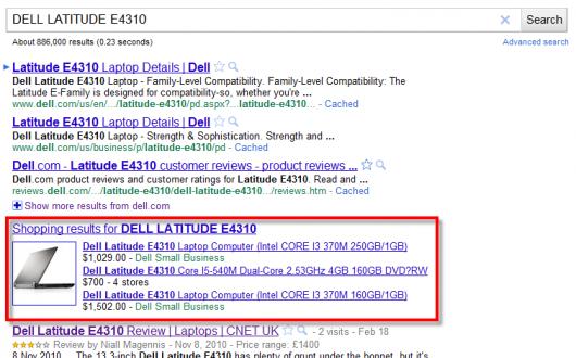 wyniki zakupowe - eksponowany Google Shopping
