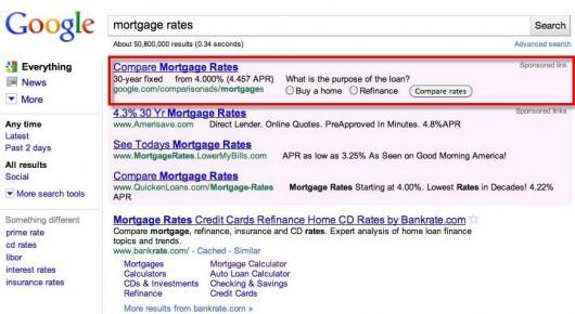 google'owska porównywarka kredytów hipotecznych eksponowana w SERP-ach