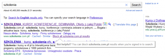 przycisk block this site