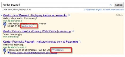 """tak wygląda link """"wskazówki"""" w Google AdWords"""
