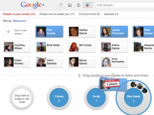 circles usługa Google+