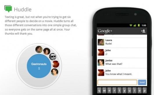 Google Plus - usługa - Huddle - zrzut ekranowy