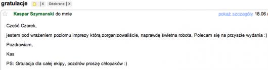 mail pochwalny Kaspar