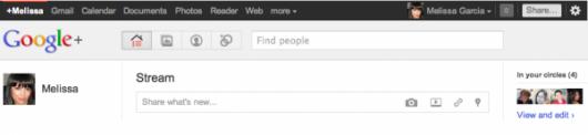 toolbar Google+ - zrzut ekranu