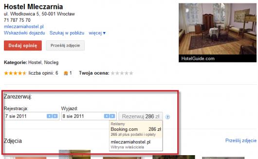 rezerwacje w Miejscach Google
