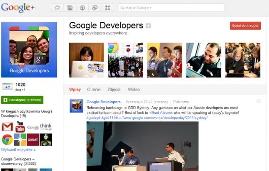 wygląd Strony w Google Plus