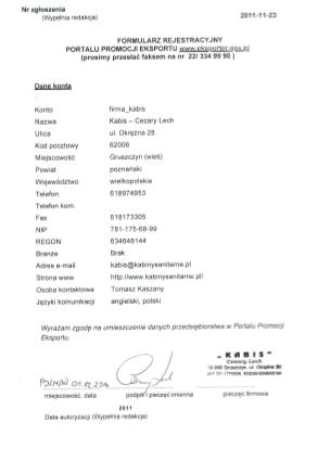 dokument zgloszenia do eksporter gov