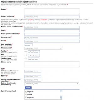 rejestracja konta eksporter gov pl