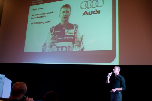 David Harling presenting a case study of a campaign for Audi