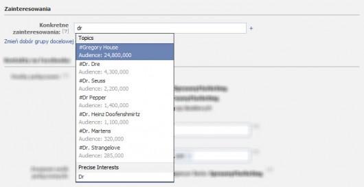 FB kierowanie na dowolne zainteresowania