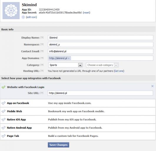 Drugi ekran tworzenia aplikacji w Facebook