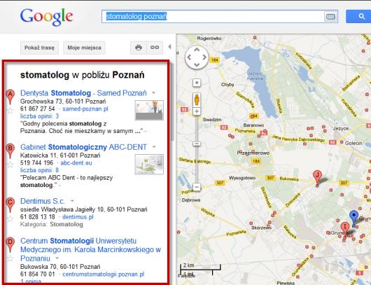 wyniki lokalne w Mapach Google