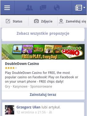 Reklama w mobilna w aplikacji Facebook