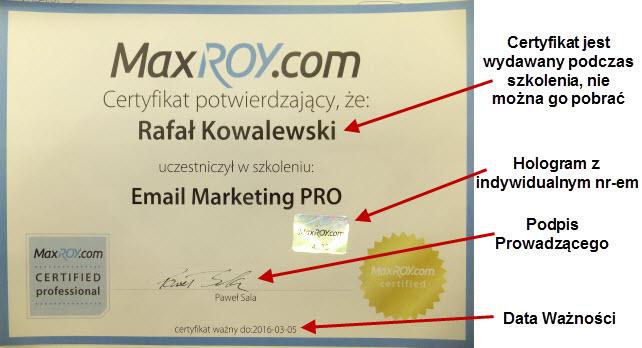 Certyfikat MaxROY.com 2013/14