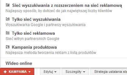 Rodzaje kampanii w Google AdWords