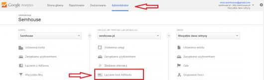 Łączenie AdWords z Analytics: krok 1