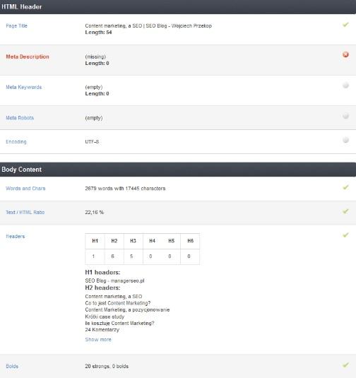 Screen z narzędzia http://www.seoptimer.com/