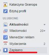 Zapisane linki Facebook