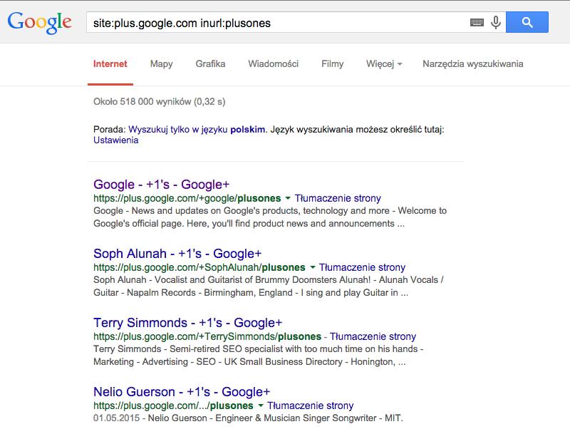 ponad 500 tysiecy zaindeksowanych profili plusones na google plus
