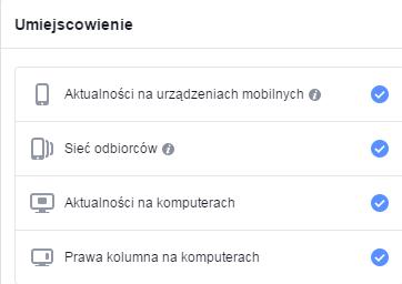 umiejscowienie reklam na Facebooku
