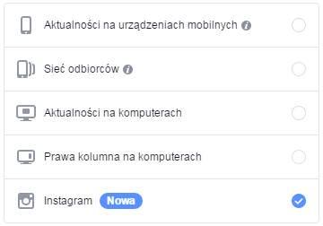 Ustawianie reklamy na Instagramie z Facebooka