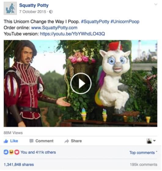 Squatty Potty wybrało zarówno YouTube, jak i Facebook jako platformy na ich viralowe video.