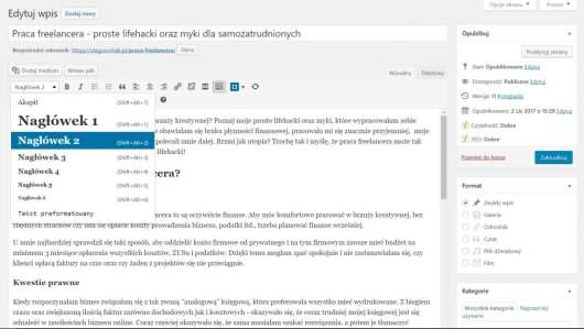formatowanie tekstu w WordPressie
